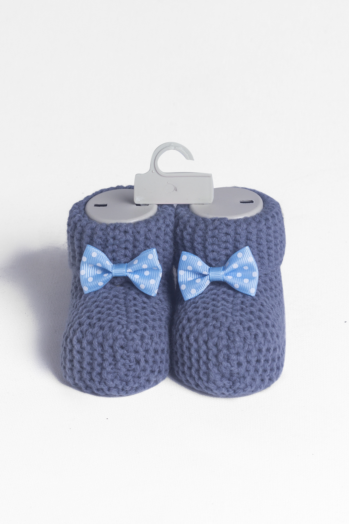 Baby Navy Bow Knitwear Booties